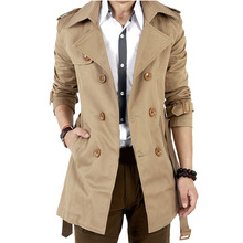 Trench Coat Men Classic Men's Double Breasted Trench Coat Masculino Mens Clothing Long Jackets & Coats British Style Overcoat(China (Mainland))