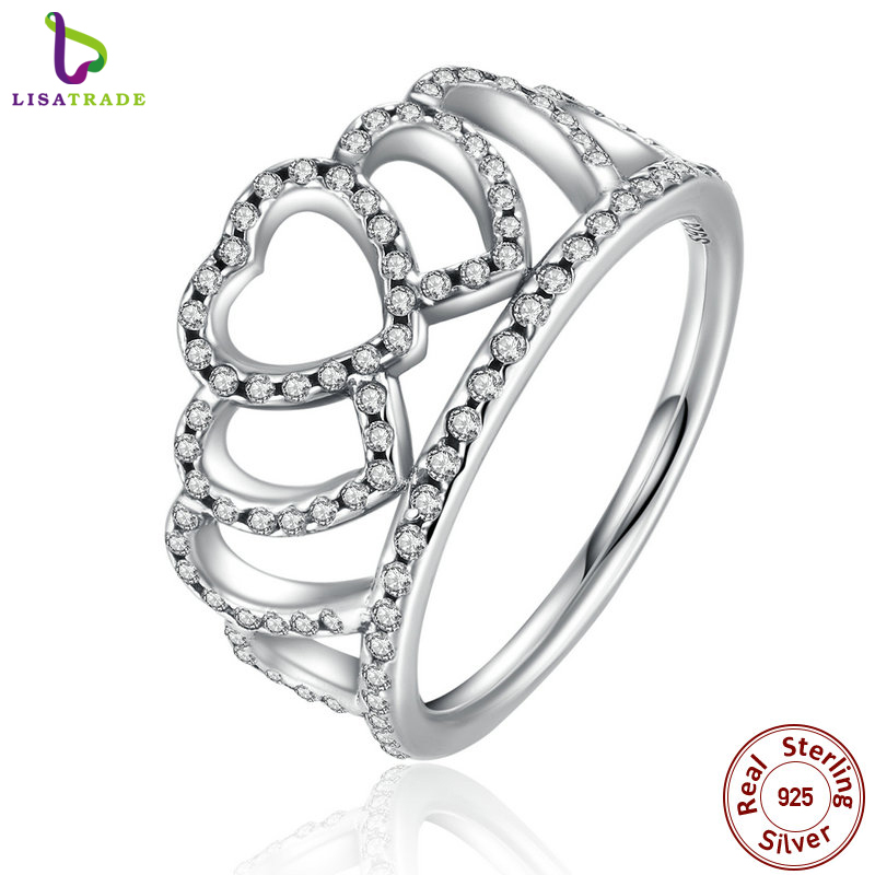 2017 New 100% 925 Sterling Silver Hearts Tiara, Clear CZ Women Finger Ring Compatible with Original Jewelry PA7194(China (Mainland))