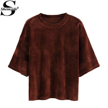 Sheinside Summer Simple Tops 2016 Female Khaki Dropped Shoulder Short Sleeve Round Neck Seam Velvet Loose Cheap T-shirt(China (Mainland))