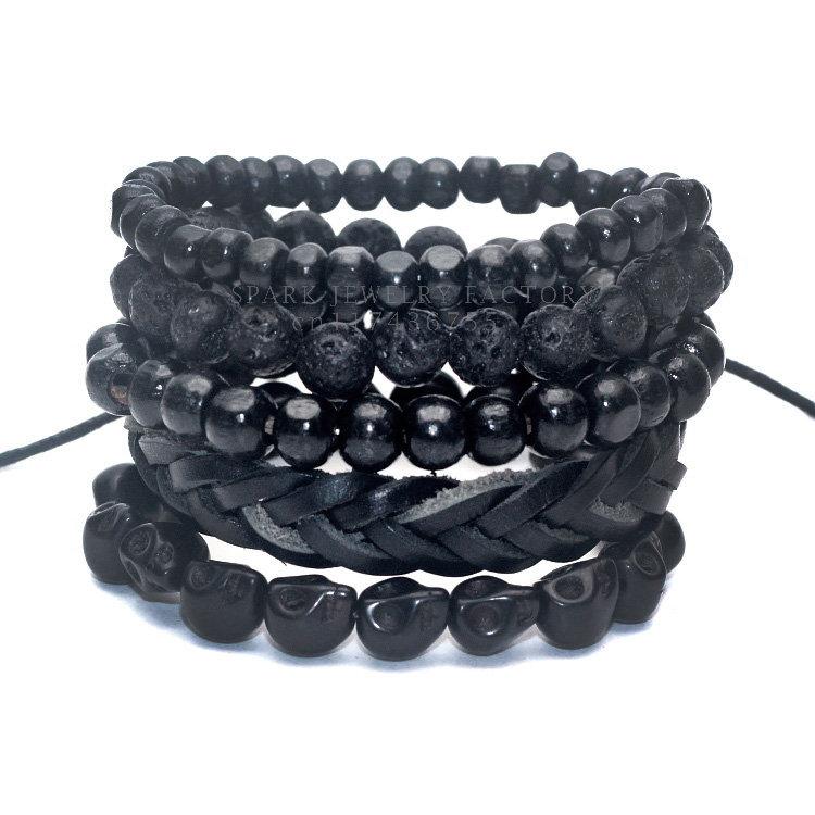 1 Set 5 pcs Black Out Bamboo wood, Lava Stone Beads , Stone Skull and Pull-Closure Leather Bracelet Men's Fashion Bracelet Pack(China (Mainland))