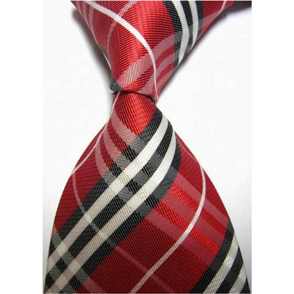 販売100% シルク ネクタイ男性スーツ アクセサリージャガード織柄ネクタイ赤黒 チェック柄結婚式.