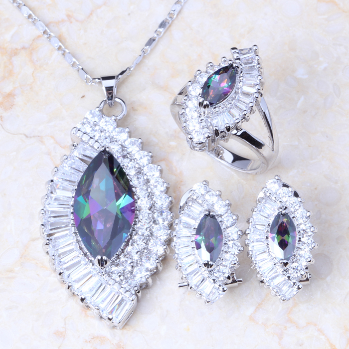 Classic Genuine Rainbow Fire Mystic Topaz Silver Necklace Pendant Ring Earring For Women Wedding Gift Set T0055A(China (Mainland))