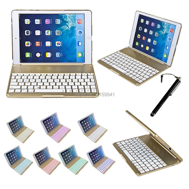 Clamshell For Apple iPad Air 2 2-in-1 QWERTY Aluminium Folio Bluetooth Keyboard Protective Case Cover W/ Colorful Backlit Light