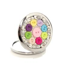 New diamond Candy colored buttons women s Mirror Handmade Portable Double Dual Sides Stainless Steel Frame