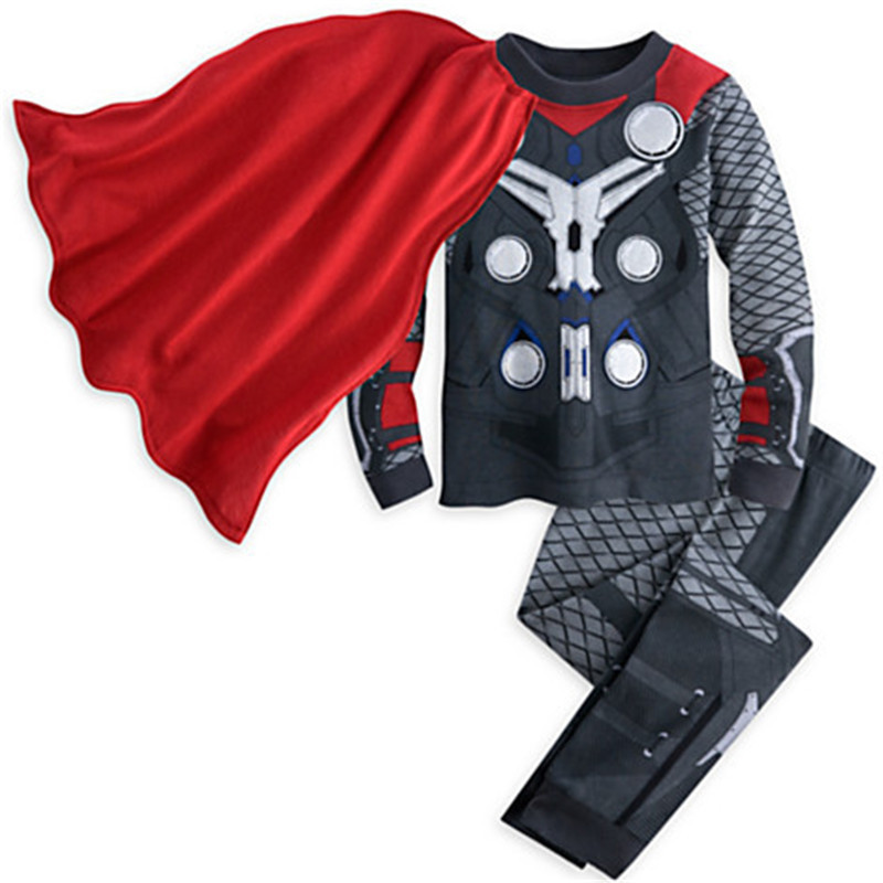 New Children Cartoon Pajamas Set Baby Kids Iron Man Batman Spiderman Boys Clothes Tracksuit Suit for Christmas(China (Mainland))
