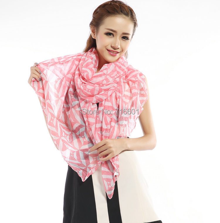 HOT Fashion new scarves 180*90 CM Pink Check Striped Scarf Long Voile Cotton Wrap Or Cover Up Dress Pashmina Shawl(China (Mainland))