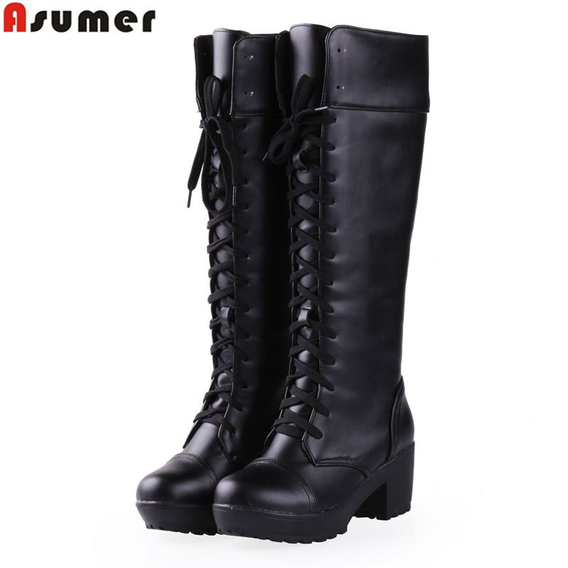 popular white knee high lace up boots buy cheap white knee