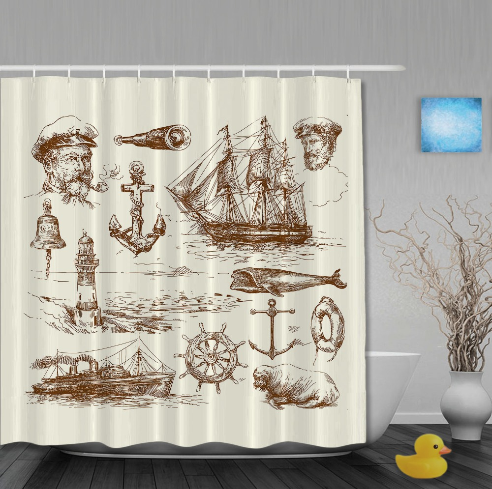 Custom Pirates Style Sketch Shower Curtains Light Yellow Waterproof High Quality Home Decration With Hooks Bathroom Curtain(China (Mainland))