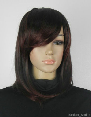 free shipping Express delivery to USA New Dark Brown Red Straight Short women Wig s0855(China (Mainland))