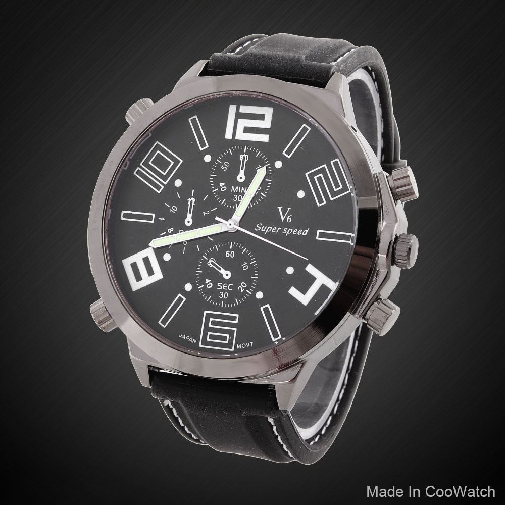 2015 New Fashion V6 relogios masculino Brand Men's Sports watches Large dial stainless steel quartz Military Wristwatch LRY09 - Guangzhou Xiou watch store