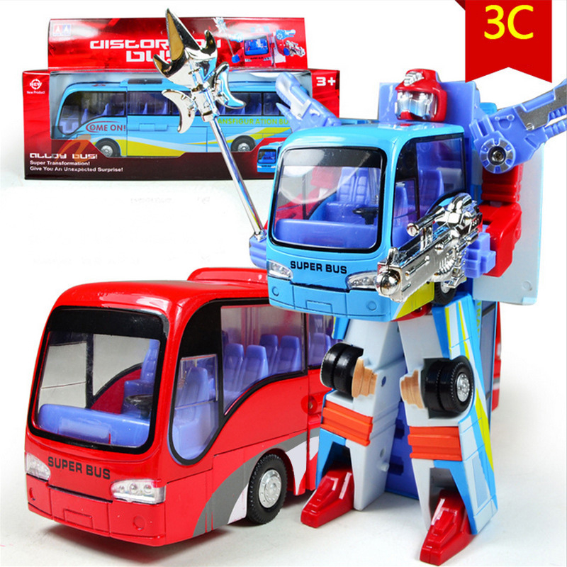 Cool Cars Buses Deformation Robot Toy Transformation Toy Car Child Kids Gift 3 Colors Bus Toy(China (Mainland))