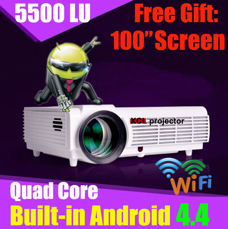 5500 lumens smart Android 4.4 lcd tv led projector full hd accessories 1920x1080 3d home theater projetor video proyector beamer(China (Mainland))