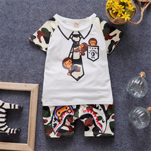 2016 Brand Boys Summer Clothes Kids Boys Clothing Set Monkey Pattern Camouflage Printed Boys Clothes Suit  T shirt + Pant 0-4Y(China (Mainland))