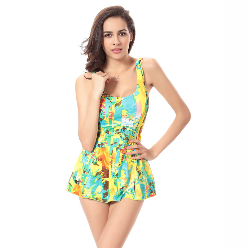New Printing Skirt One Piece Swimsuit maillot de bain une piece Swimming Suit for women X105(China (Mainland))