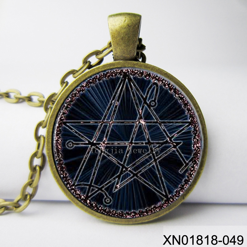 Fashion jewelry necronomicon the elder sign pendant ritual altar necklace occult magick chaos(China (Mainland))