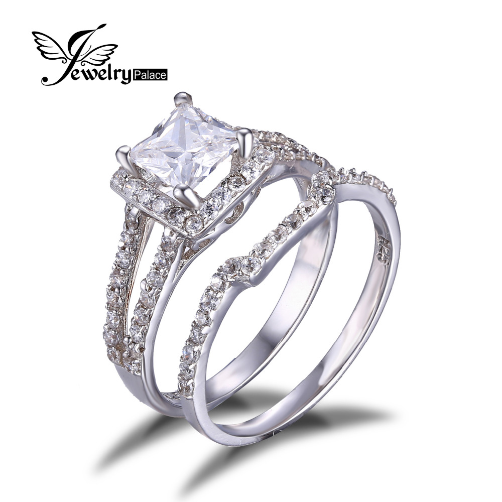 Princess CZ Engagement Wedding Ring Set 925 Sterling Silver Rings For Women Vintage Band Wedding Bridal Jewelry Valentine Gift(China (Mainland))