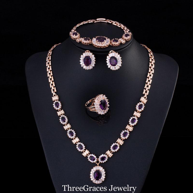 2016 Dubai 18K Gold Filled Purple Amethyst Oval Austrian Crystal 4 Piece Luxury Wedding Engagement Jewelry Set For Women JS168(China (Mainland))