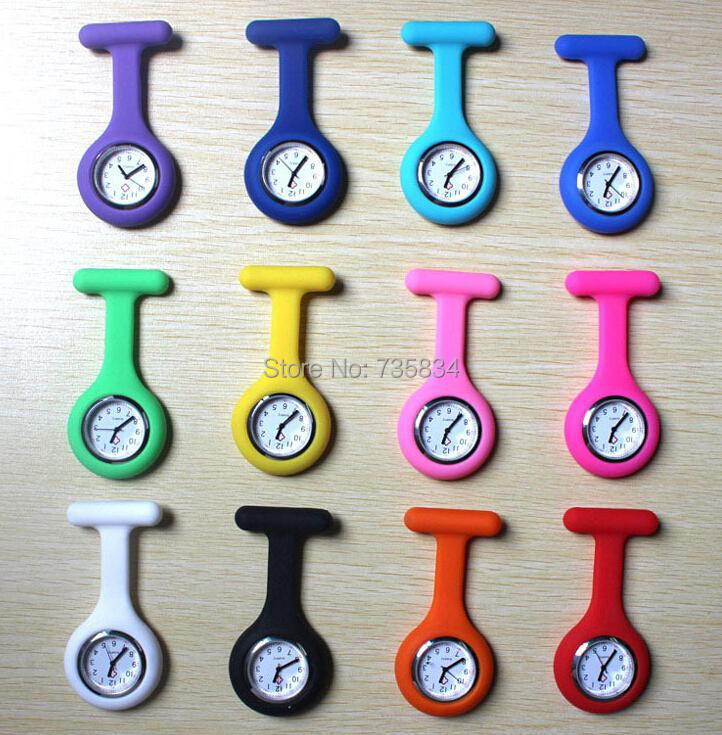 Wholesale 300pcs/lot Mix 12colors Nurse Fob Watch Silicone Chain Nurse Watch Doctor quzrtz watch NW019(China (Mainland))
