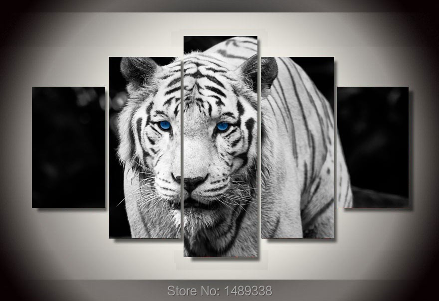 Framed Printed White Tiger Landscape Group Painting room decor print poster picture canvas Free shipping F/809(China (Mainland))