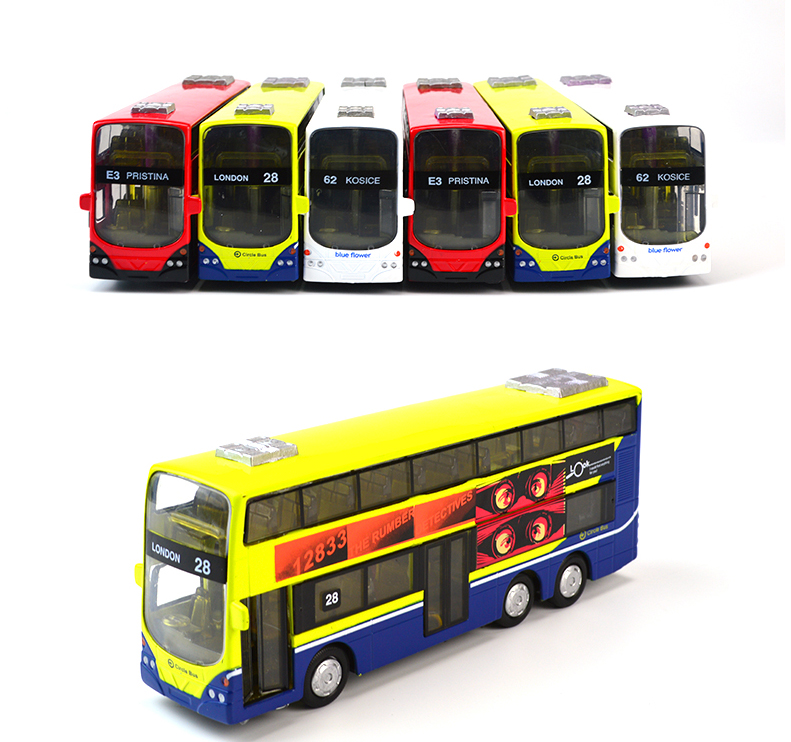 Hot Sale In Stock Sale 1:43 Mini Alloy Car Pull Back London Double-Decker Bus Toy Cars Model Toys For Children Can Open Door(China (Mainland))
