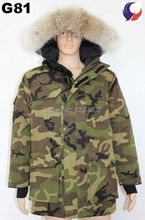 Men Winter Warm Coat Heavyweight Jacket Coyote fur collar Down Camouflage Overcoat Expedition Parka G81(China (Mainland))