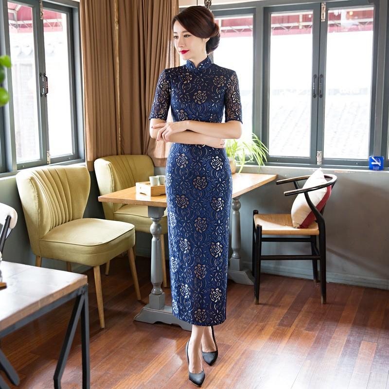 สีชมพูวินเทจสตรีลูกไม้ยาวCheongsamจีนแฟชั่นสไตล์การแต่งกายที่สวยงามQipaoขนาดSml XL XXL XXXL F101014 ถูก