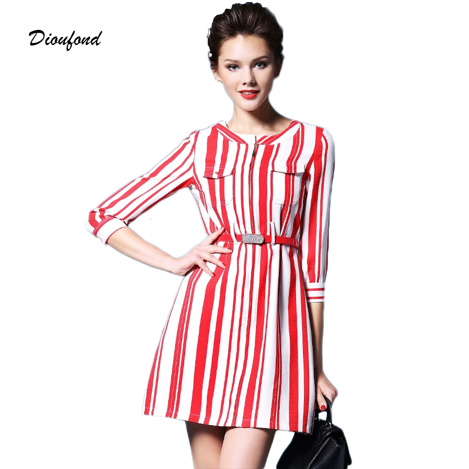 Dioufond Autumn Women Dress 2015 Vintage Striped Patchwork Vestidos Cotton Causal Three Quarter Sleeve Office Dress With Belt