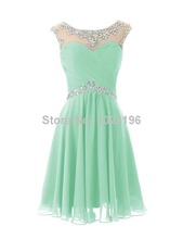2015 New Hot Sexy Short Mint Green Crystal Chiffon Prom Dress Homecoming Party Dresses Short Junior Prom Birthday Dresses(China (Mainland))