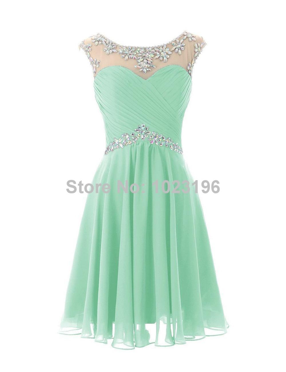 Vestidos de noche cortos verde menta