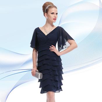 Синий короткие ну вечеринку платья с двойным v-образным вырезом бабочка рукавом раффлед ...
