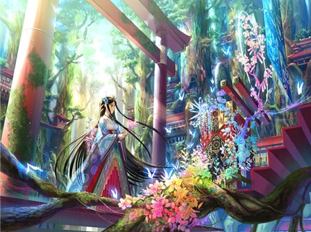 anime girls Fuji Choko black hair blue eyes butterfly <font><b>Asian</b></font> architecture flowers forest hair <font><b>Home</b></font> <font><b>Decoration</b></font> Canvas Poster