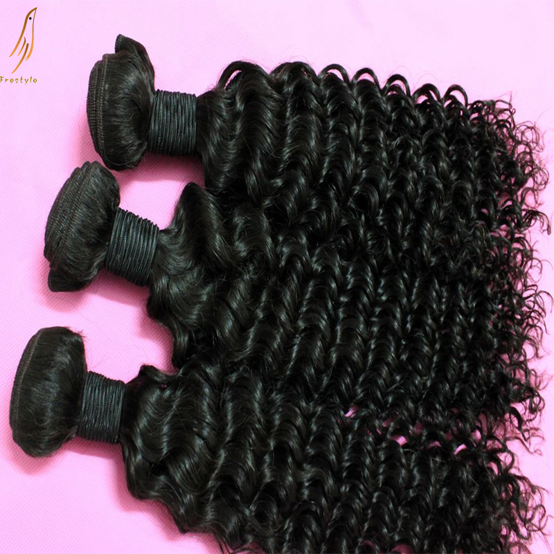 , deep wave afro small curly Indian virgin natural hair weaves extensions,mixed lengths 3bundels lot - Frestyle human (Factory price store)