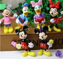 2016 6pcs/set new American PVC anime figure doll toys Donald Duck Mickey Minnie 6CM free shipping