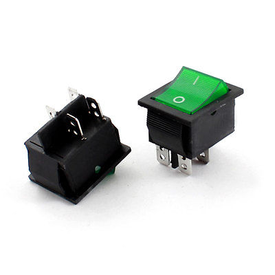 2 x KCD-102 Green Light DPST On/Off Boat Rocker Switch AC 220V 5A<br><br>Aliexpress