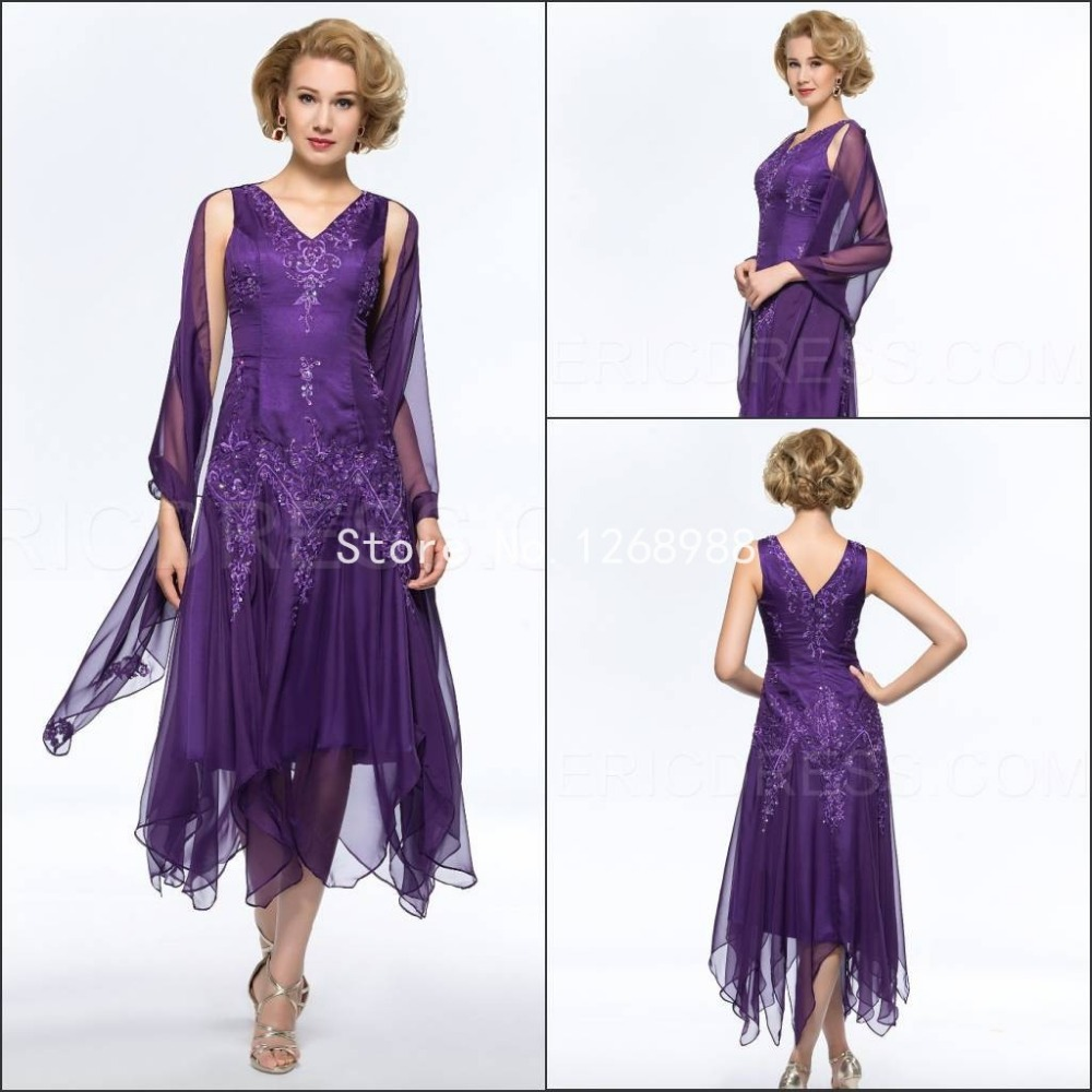 Purple Wedding Dresses And Suits : Fashion custom v neck plus size mother of the bride