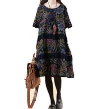 New 2015 Women Summer Style Dress  Fashion Printing Linen Dresses Big Size Vestido(China (Mainland))