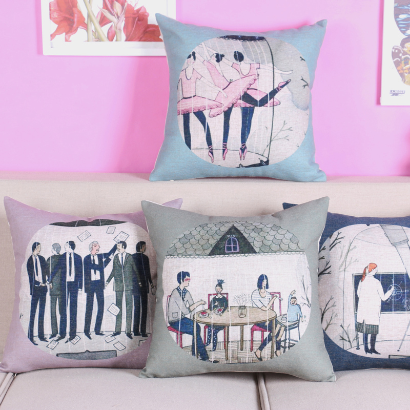 Free shipping/personality contemporary and contracted fashion office figures cotton pillowcase sofa 43 * 43 car cushion cover(China (Mainland))