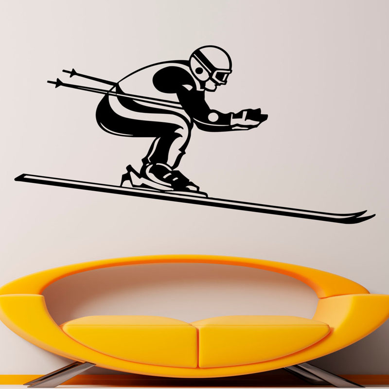 Waterproof Wall Stickers Winter Sport Skiing Skier Wall Decals Home Decor Vinyl Art Wall Murals For Rooms