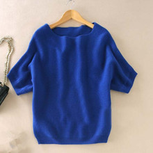 Seasons A word collar Cashmere Sweater New women loose big yards bat shirt was thin short-sleeved knit  hedging wild Sweater(China (Mainland))