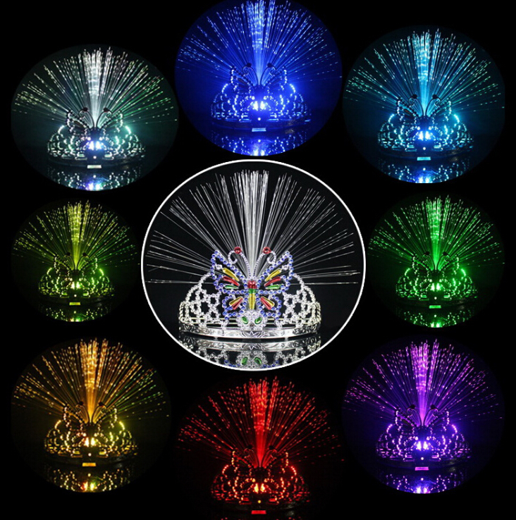 Colorful Light Flash Changing 8-colors Dancing Party Headgear Butterfly Crown Fiber-optic Headband(China (Mainland))