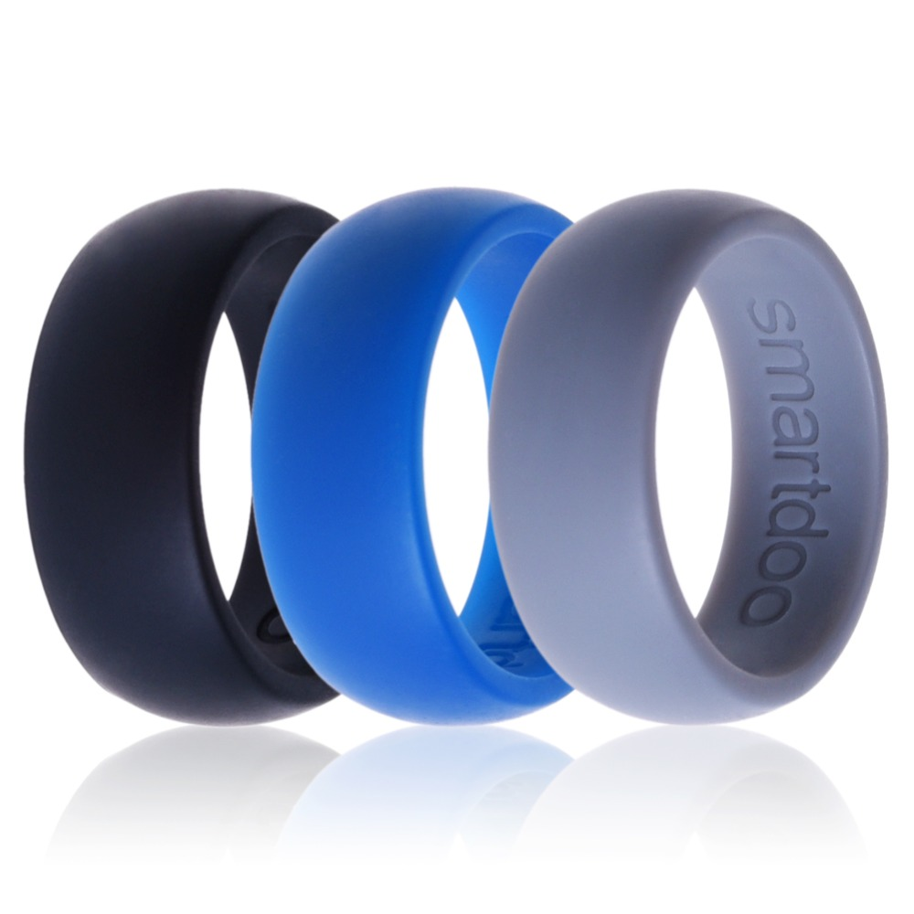 BXJY rubber mens wedding band Amazon com Silicone Weddings Rings for Men by ARUA 3 PACK Comfortable and Durable Rubber Wedding Bands for Sports Gym Outdoors 2mm thick