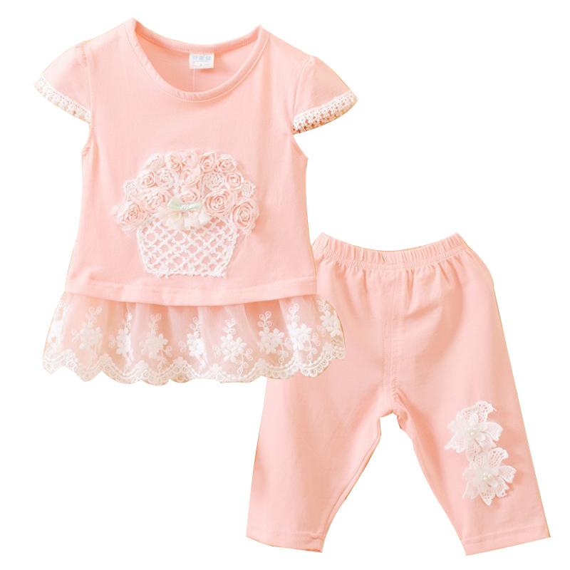 Age 0-1 Carters Summer Style Floral Lace Cotton Pink Newborn Baby Girl Clothing Set 2Pcs Short T-shirt+Leggings Infant Clothes(China (Mainland))
