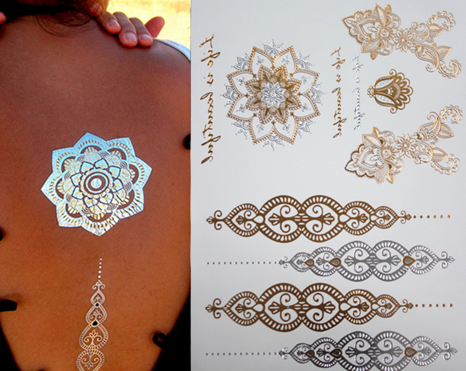 Jewlery style body art painting tattoo stickers glitter Metal gold silver temporary flash tattoo Disposable indians tattoo(China (Mainland))
