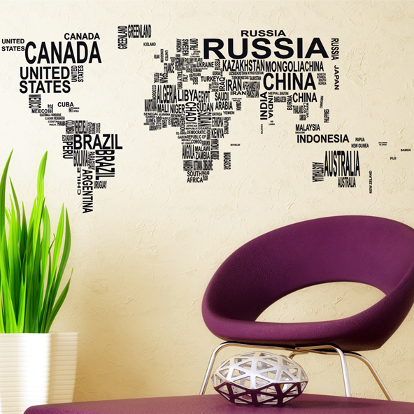 Carved(not print) wall decor decals home stickers art PVC vinyl World Map m-387 - Wall Art Stickers store