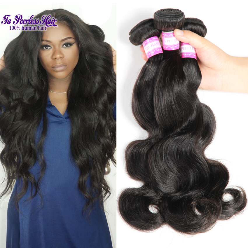 7a Virgin brazilian body wave grace hair company mario hair 100% brazilian human hair weaving 1#B real brazilian hair extentions(China (Mainland))