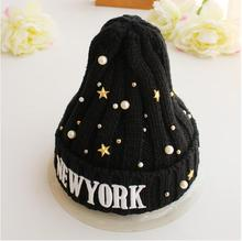 High Quality 2015 Women Hats for Girls Pearl NEW YORK Warm Winter Ladies Letter Cap Knitting Sport Casual Knitted Wool Hat M0572