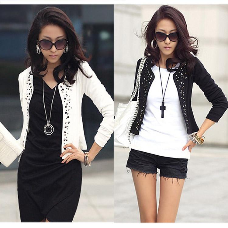 Cozy women clothes Shawl Coat Comfortable leisure slim Wild suit Ms. jacket lady black white s1023(China (Mainland))