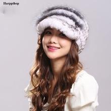 2016 Winter Woman Fur Cap Beanie Hats Visor Rex Rabbit Russian Fur Cap Brim 4cm High 22cm Warm Soft Headwear(China (Mainland))