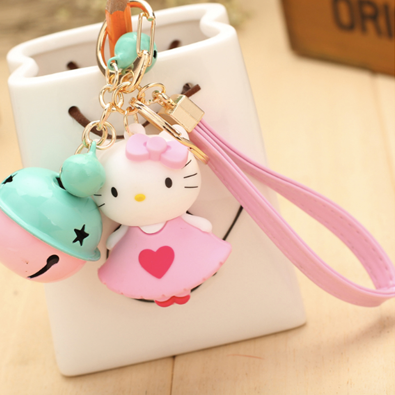 Cute Hello Kitty Keychain 17Colors Key Chain With Bell Fashion Bags and the car key chain Best Gift for friends freeshipping(China (Mainland))