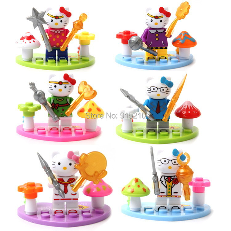 Girls gifts 6pcs/lot cute Hello Kitty cat building block assembling toys action figure collection baby toys for children no nbox(China (Mainland))